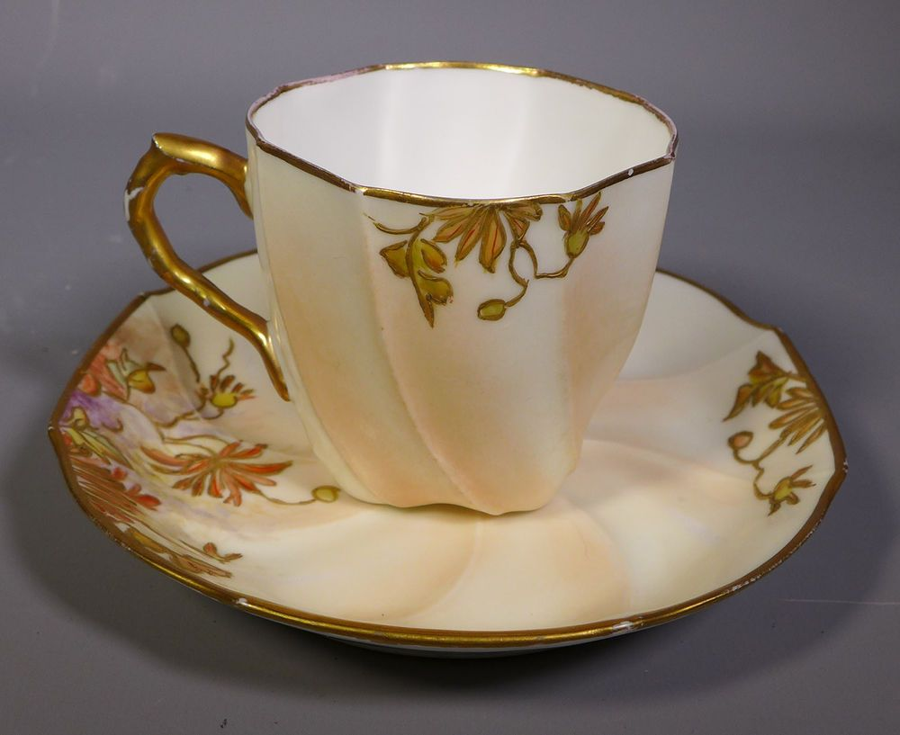 ANTIQUE MARTIAL REDON MR FRANCE LIMOGES PORCELAIN AESTHETIC TEA CUP U0026 SAUCER