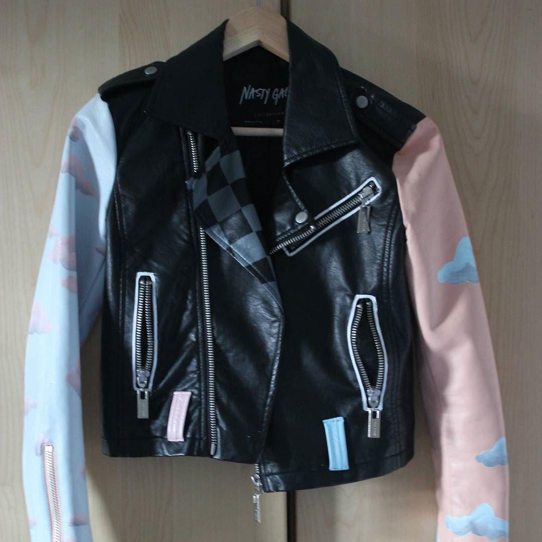 Leather jacket diy - Hand Painted Leather Jacket Diy Handmade By Raereb9