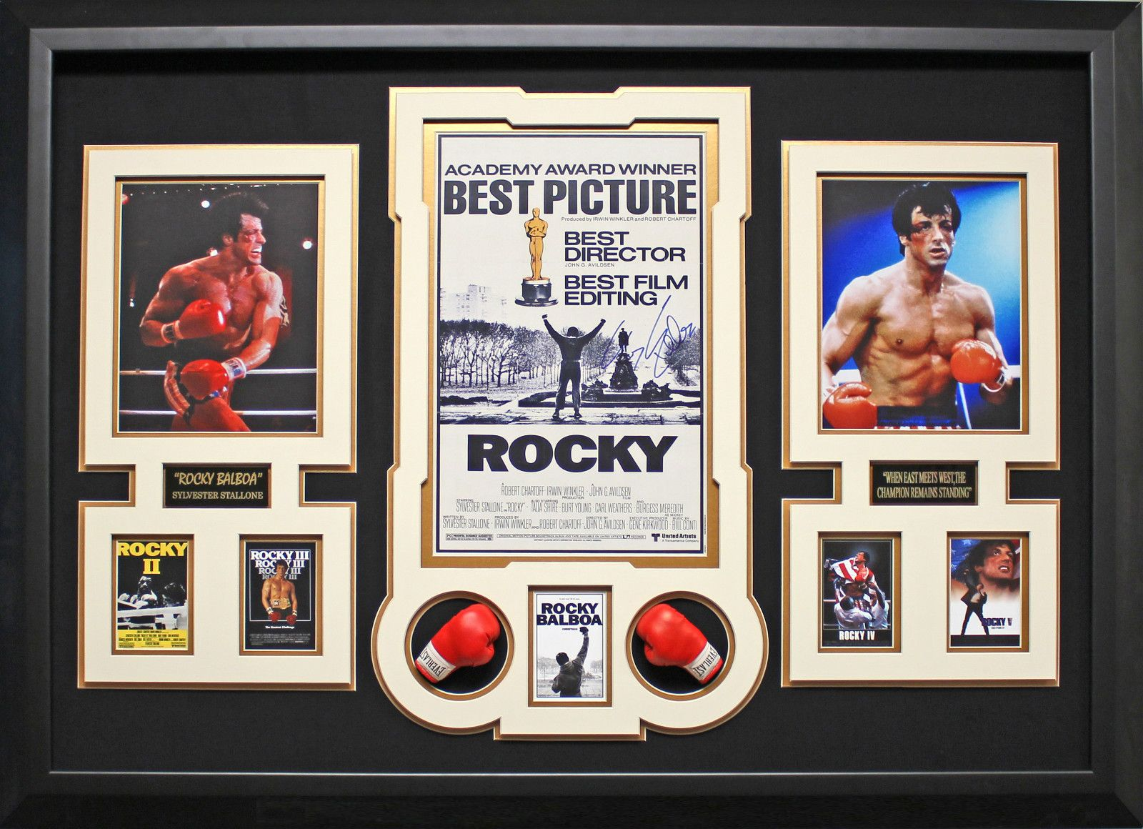 Rocky autographed sylvester stallone ebay sylvester 1 buy authentic movie memorabilia such as scarface autographed framed display signed godfather movie posters including signed and autographed movie jeuxipadfo Images