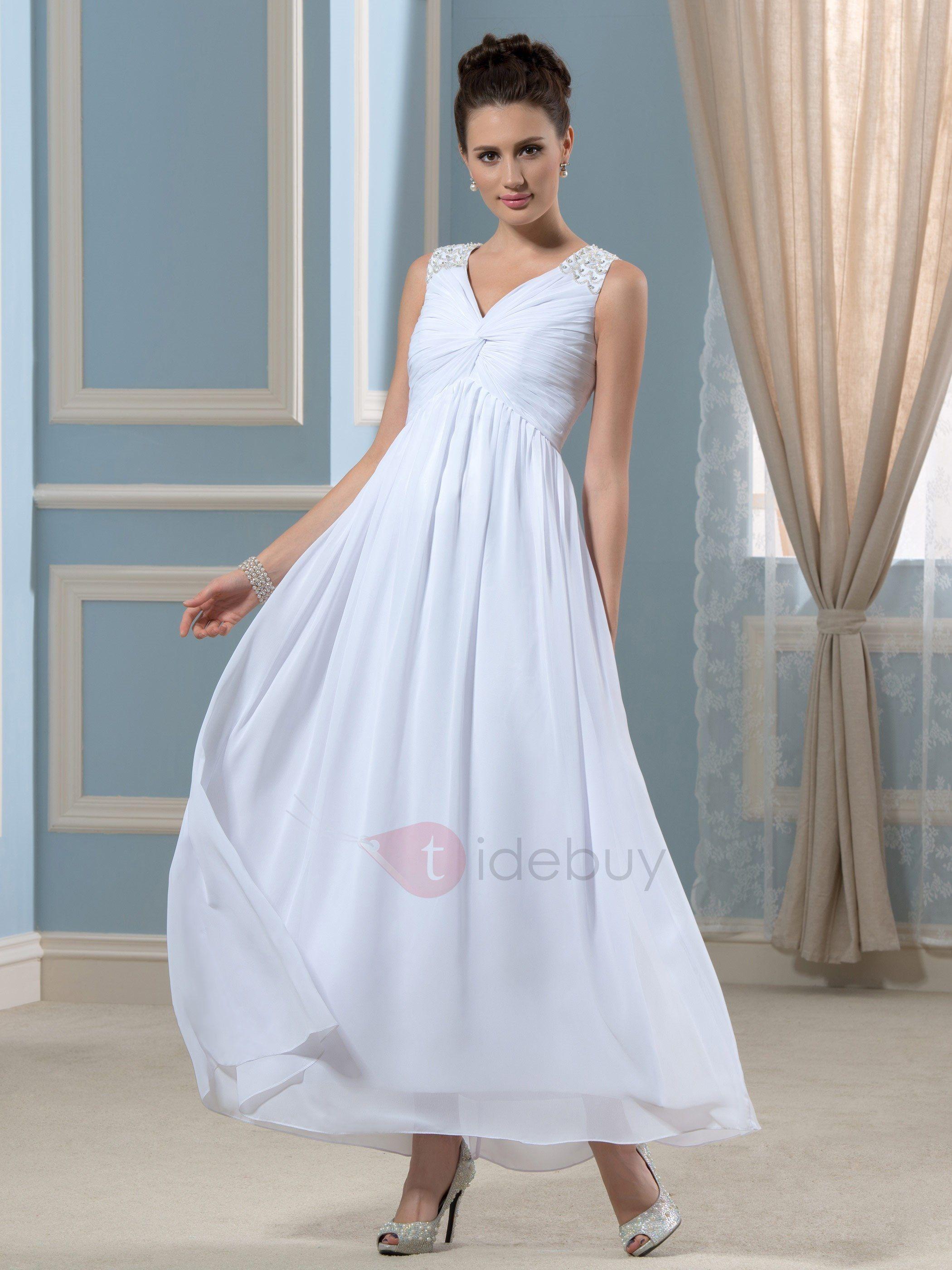 Simple Beaded Ankle Length Wedding Dress Ankle Length Wedding Dress Embellished Wedding Dress Chiffon Wedding Dress Beach [ 2800 x 2100 Pixel ]