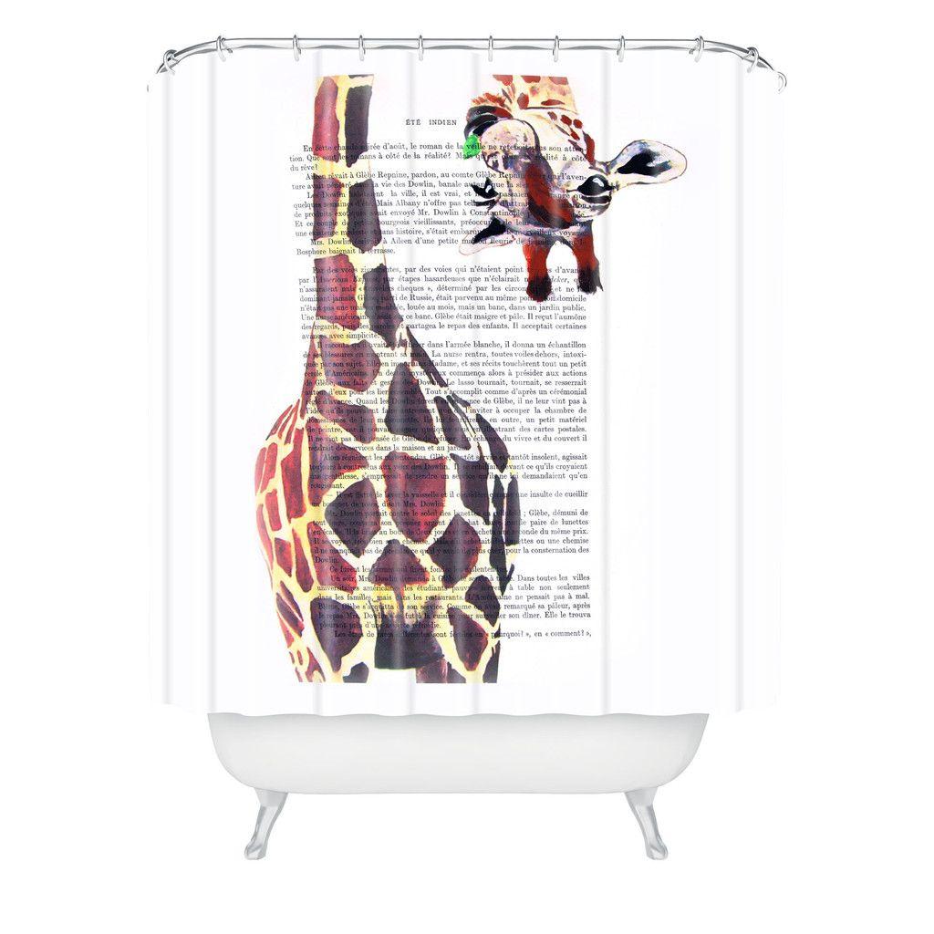Coco De Paris Funny Giraffe Shower Curtain