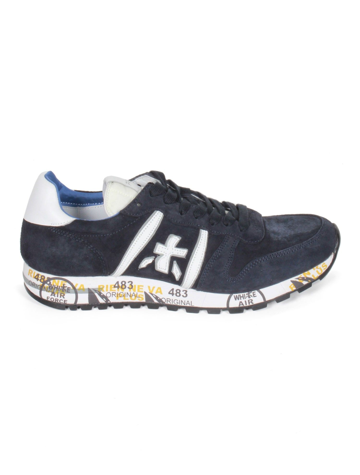PREMIATA White Eric Men's Nubuck Sneakers - Navy - serie ||| NOIRE