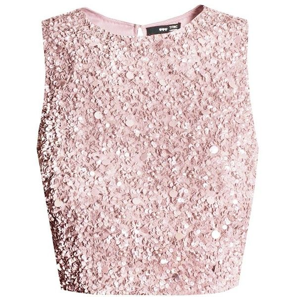 LACE&BEADS PICASSO PINK SEQUIN TOP | LACE&BEADS TOPS (€65) ❤ liked on  Polyvore