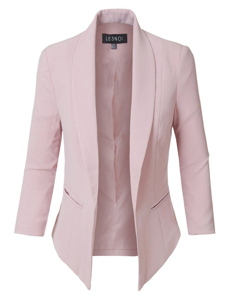 LE3NO Womens Fully Lined 3 4 Sleeve Open Front Tuxedo Blazer Jacket with  Pocket 205dbbda3323