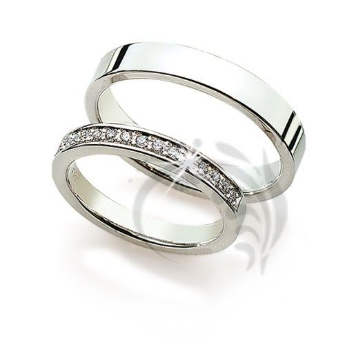 14k White Gold Couple Wedding Rings 0 15 carats 3 0 mm 4 0 mm