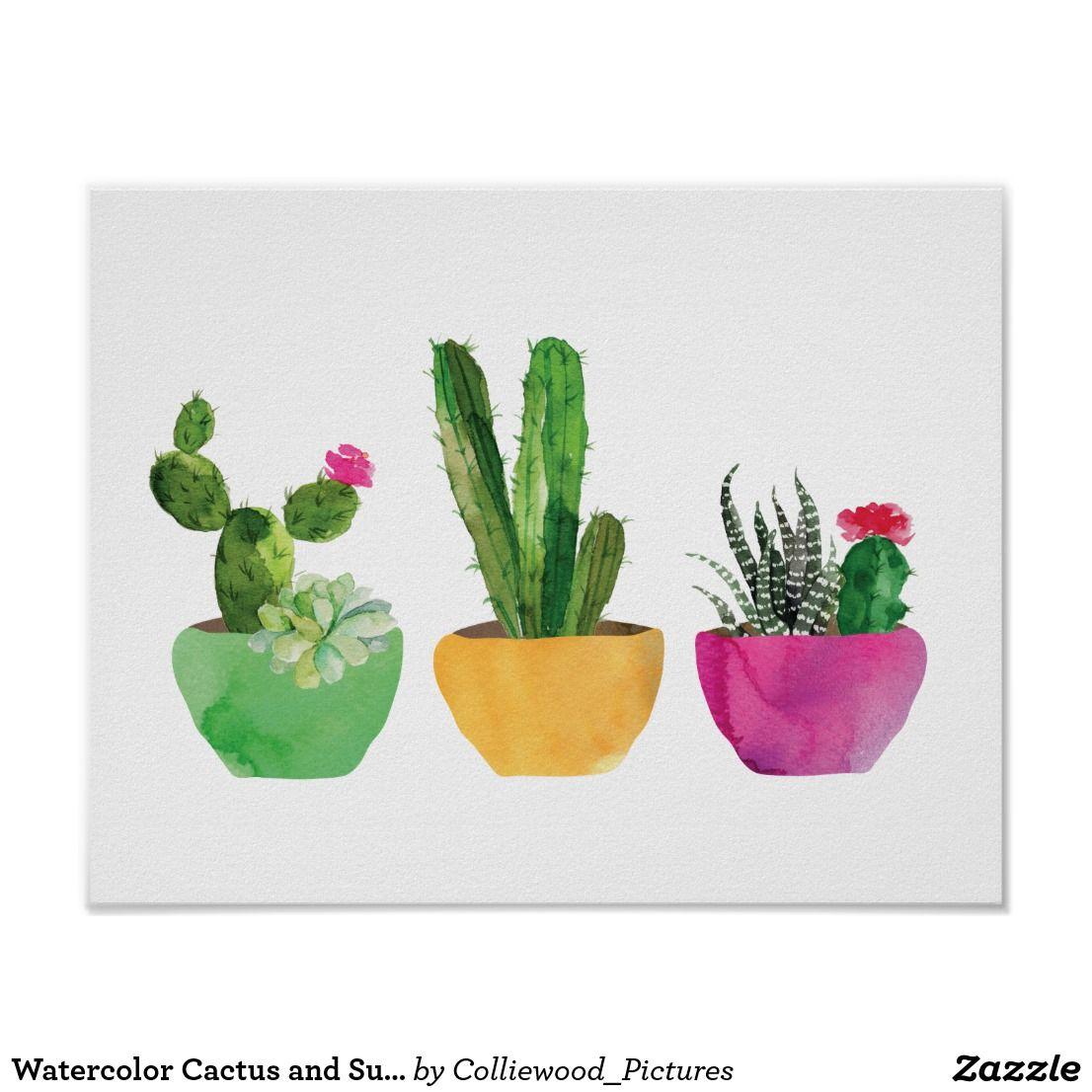 Watercolor Cactus And Succulent Print Zazzle Com In 2020