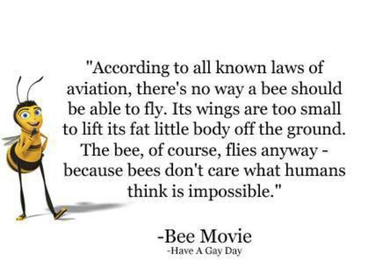 Bee Movie Quotes Bee Movie quote. Love this quote! And movie! Shows how spectacular  Bee Movie Quotes