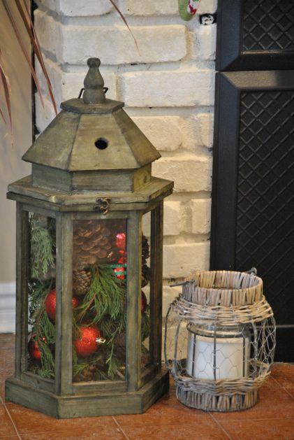 Simple Christmas Decor - Evergreens, pinecones, ornaments