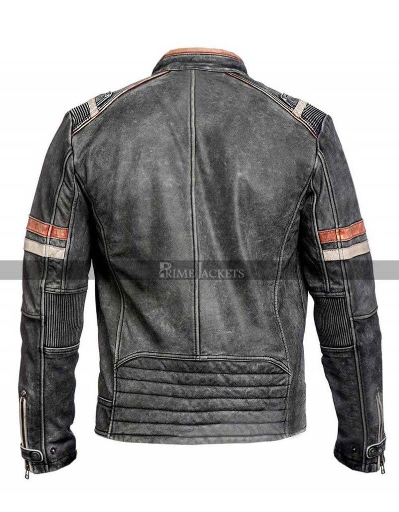 Vintage Black Motorcycle Cafe Racer Distressed Leather Jacket Cafe Racer Jacket Cafe Racer Leather Jacket
