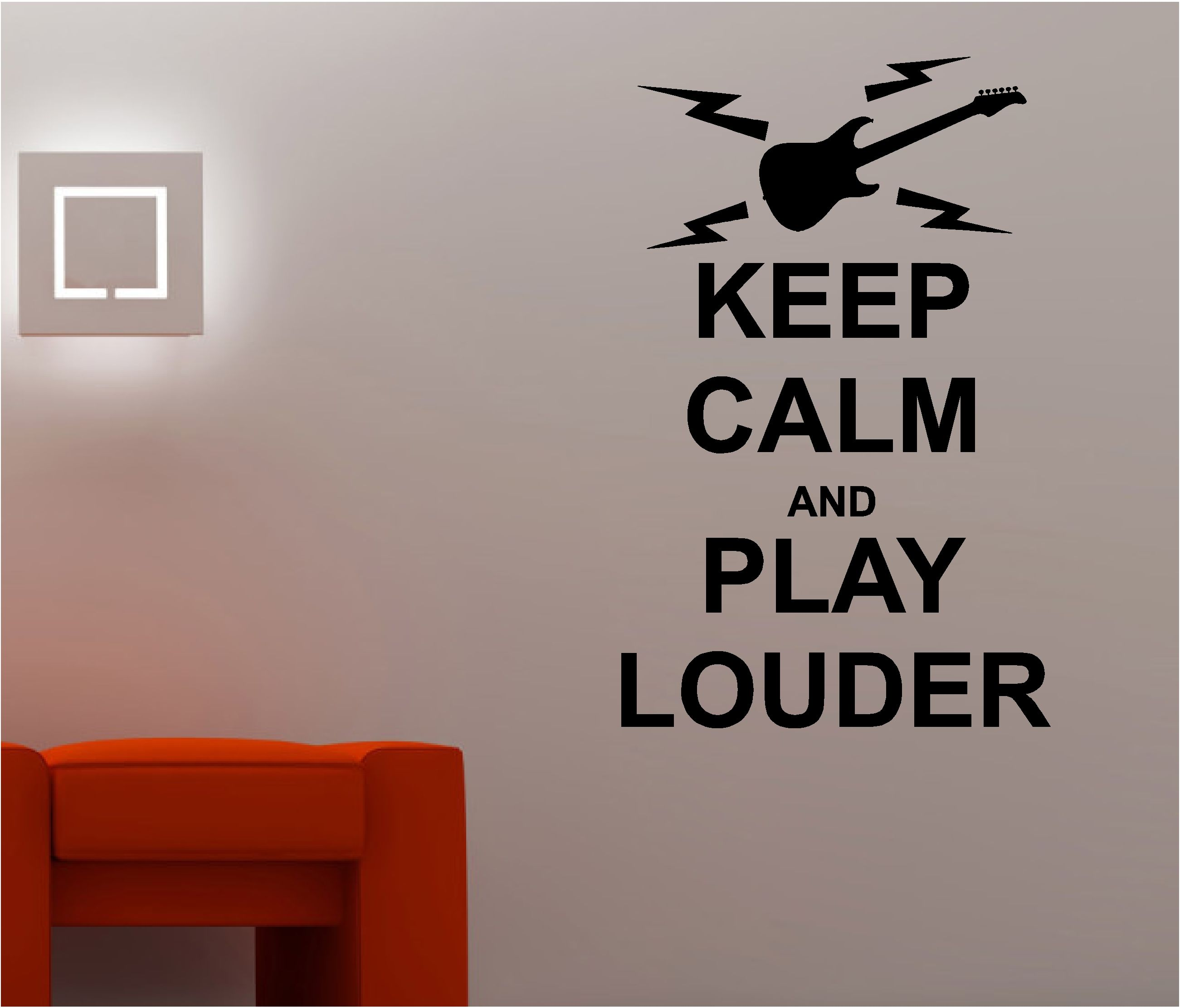 KEEP CALM U0026 PLAY LOUDER Music Wall Art Sticker Quote Decal Bedroom Lounge