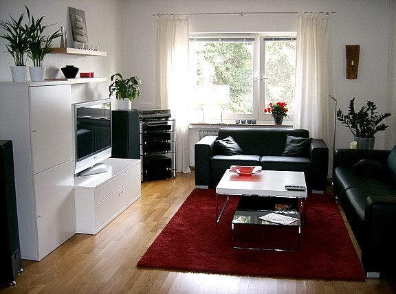 black red and white living room