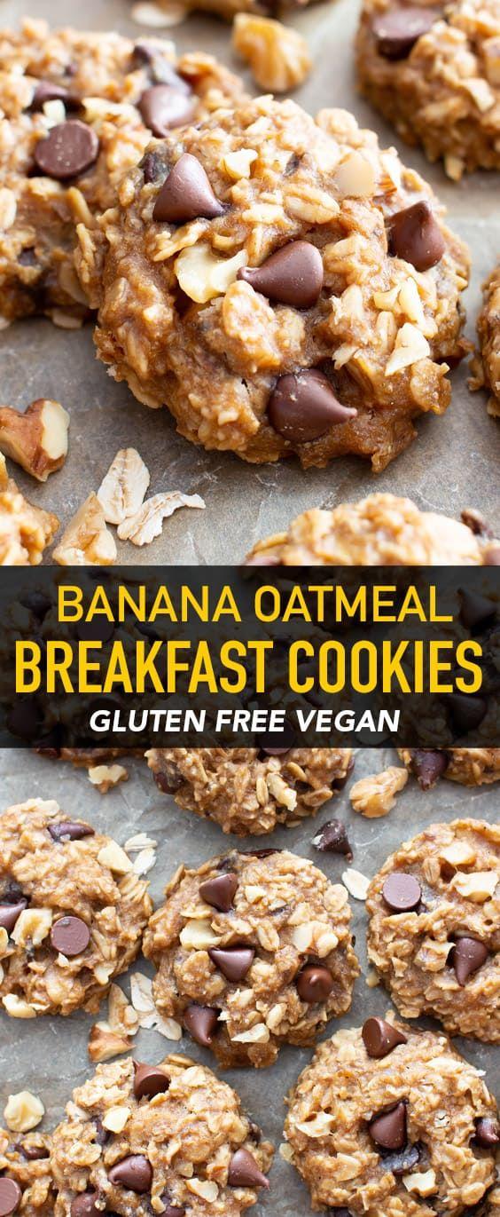 Gluten Free Chocolate Chip Banana Oatmeal Breakfast Cookies (Healthy, Vegan) - Beaming Baker