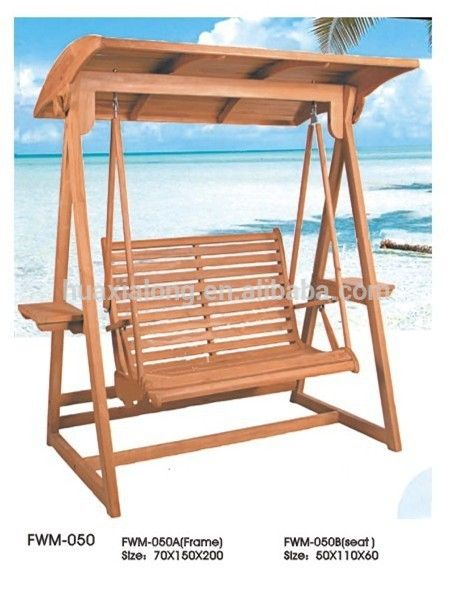 Outdoor Garden 2 Seater Swing With Canopy Wood Jhula Swing Fwm 050