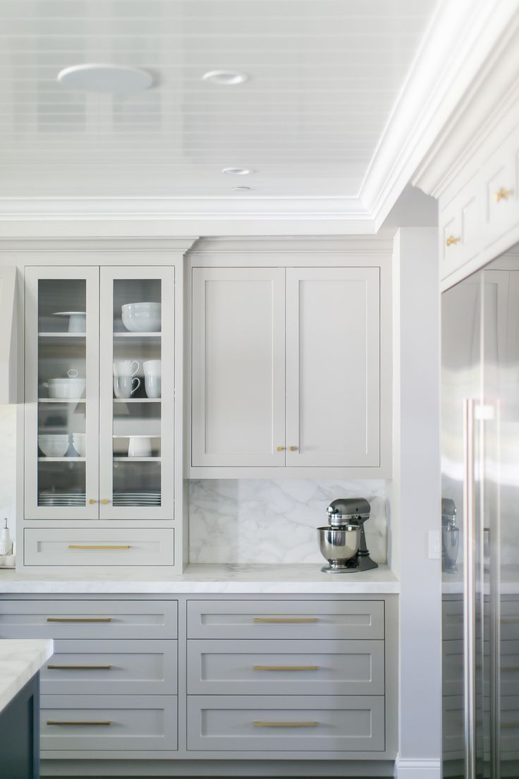 - Gorgeous Light Grey Cabinets, Marbled Countertops & Backsplash