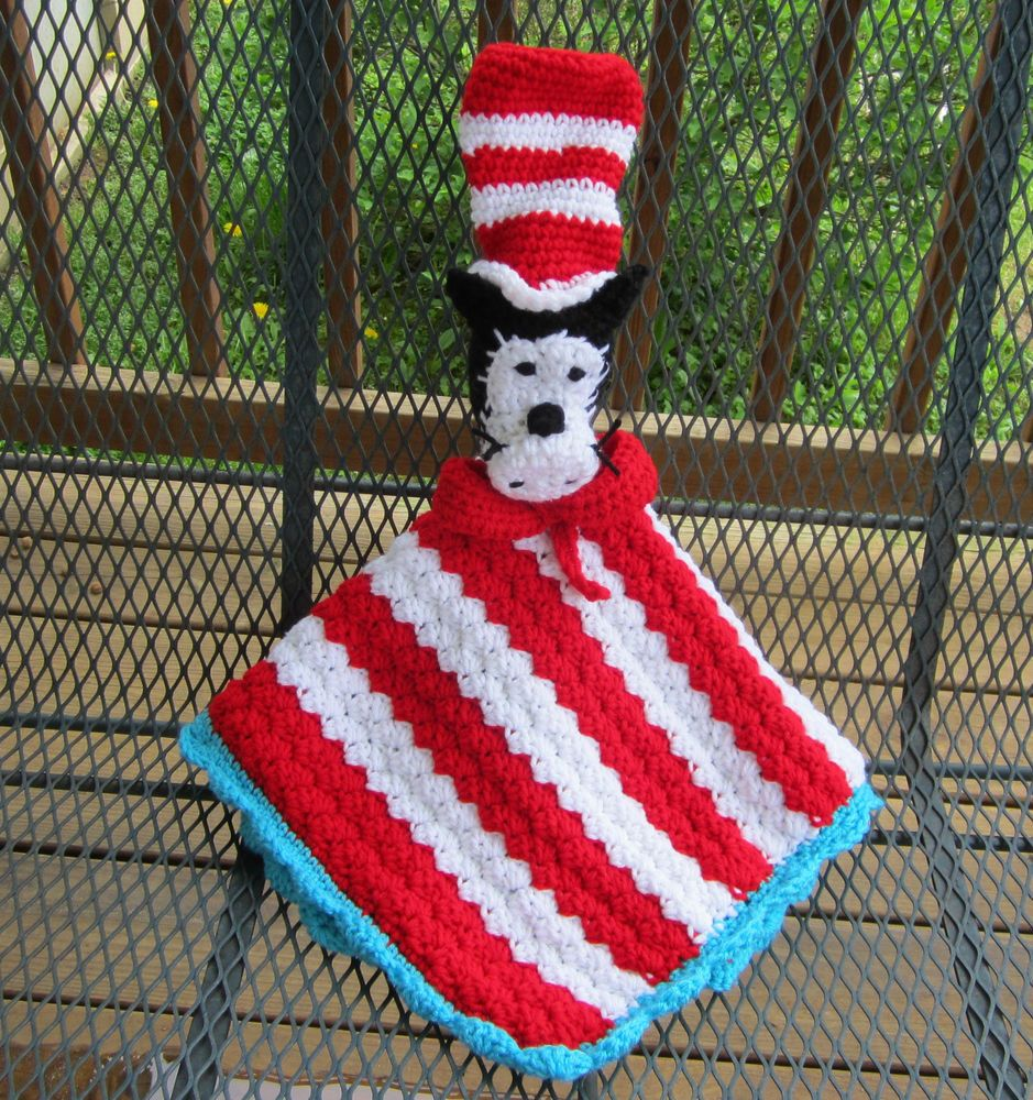 Security Blanket Crochet Dr Suess Cat In The Hat Animal
