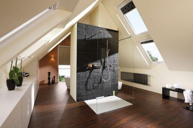 Glaswände im Bad Bath, Spaces and House - badezimmer dachschrge