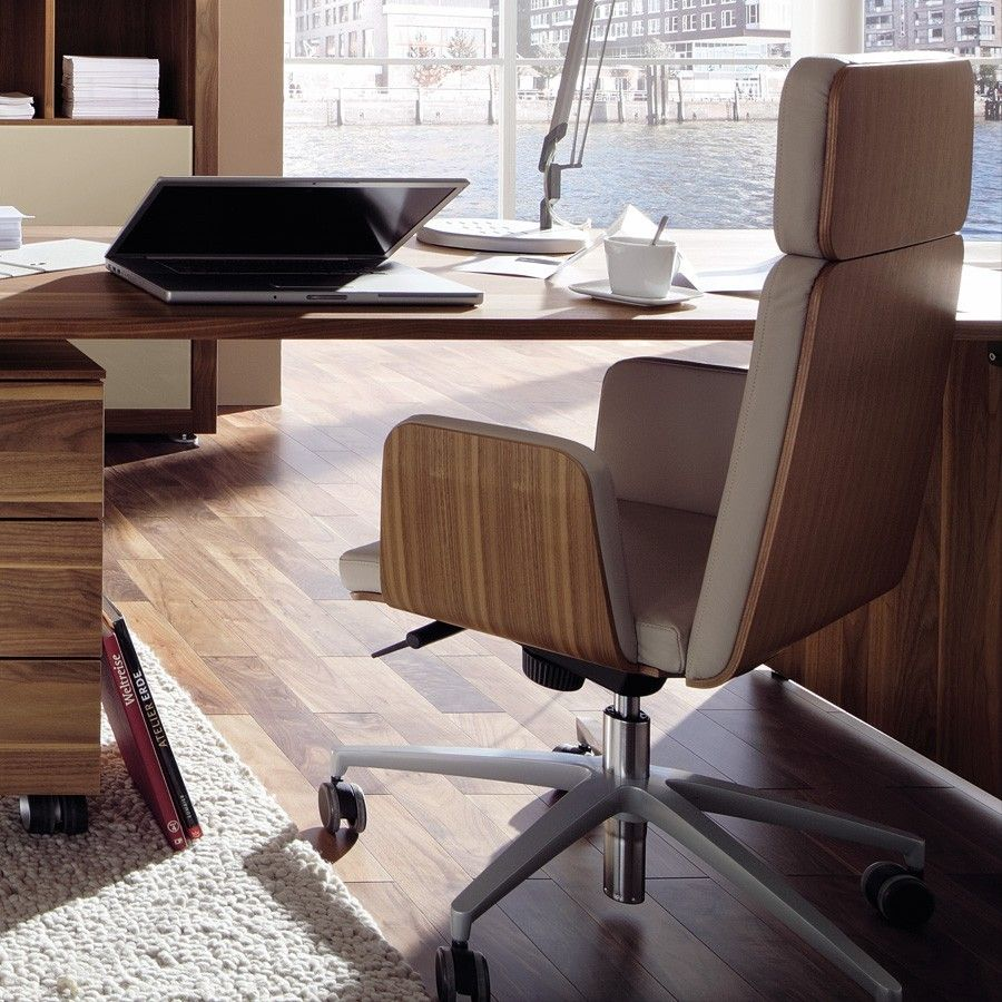 Contemporary Office Chair Home Furniture Design Ideas With Amazing Wood Materials Back That Have Soft Fabric