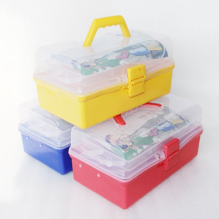 Multifunctional multilayer plastic storage box cosmetic jewelry box