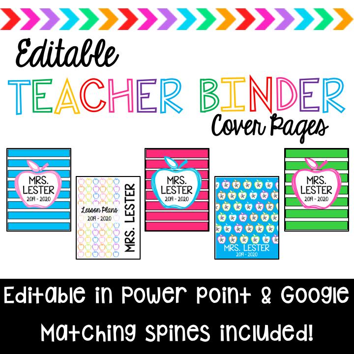 Teacher Binder Cover Pages And Spines Editable (With