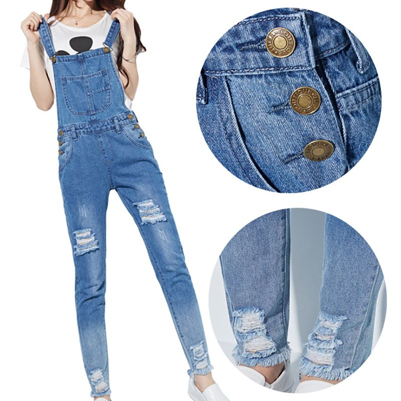 07a6079fd606 3 Color Women Jumpsuits Hole Pockets Girls Jeans Rompers Ladies Straps  Scratch Denim Jumpsuit Overall Femme