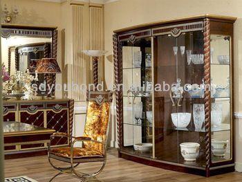 2015 0026 Antique Living Room Furniture Wooden 4D Showcase Design Interesting Living Room Showcase Design Review