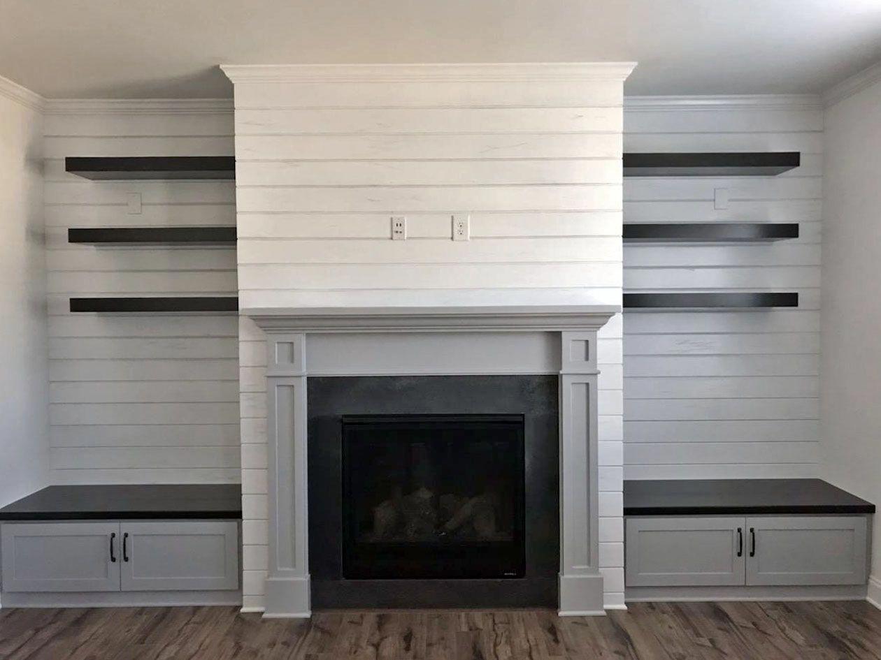 Inspiring Basement Renovation On A Budget Lowceilingbasement Fireplace Built Ins Built In Around Fireplace Fireplace Seating