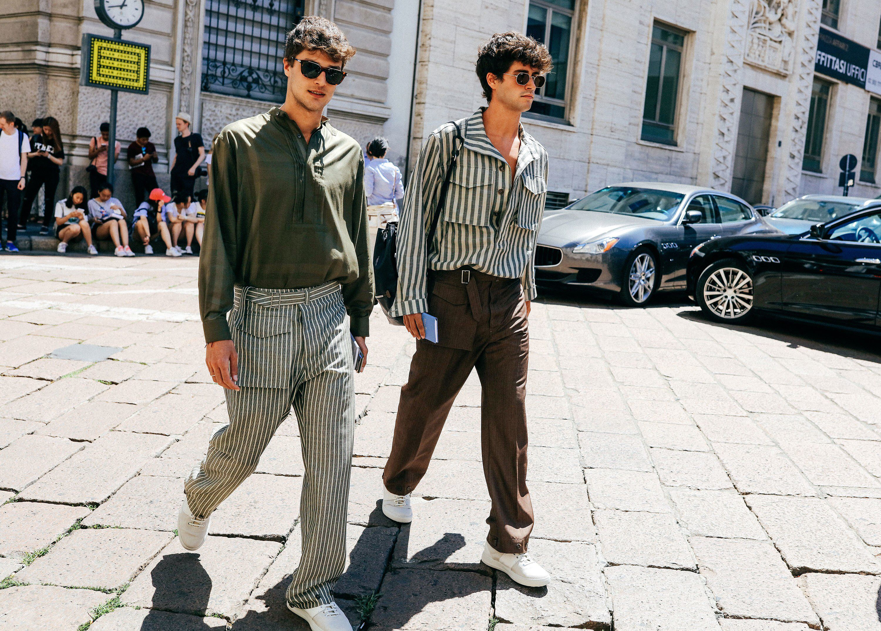The Spring '18 menswear shows are have landed in hot, sunny Milan. See all the best street style looks here.