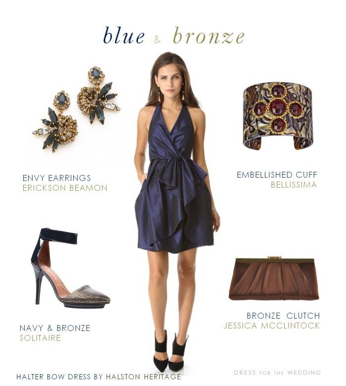 Navy Blue and Bronze Dress for a Wedding | Navy blue, Navy and Wedding
