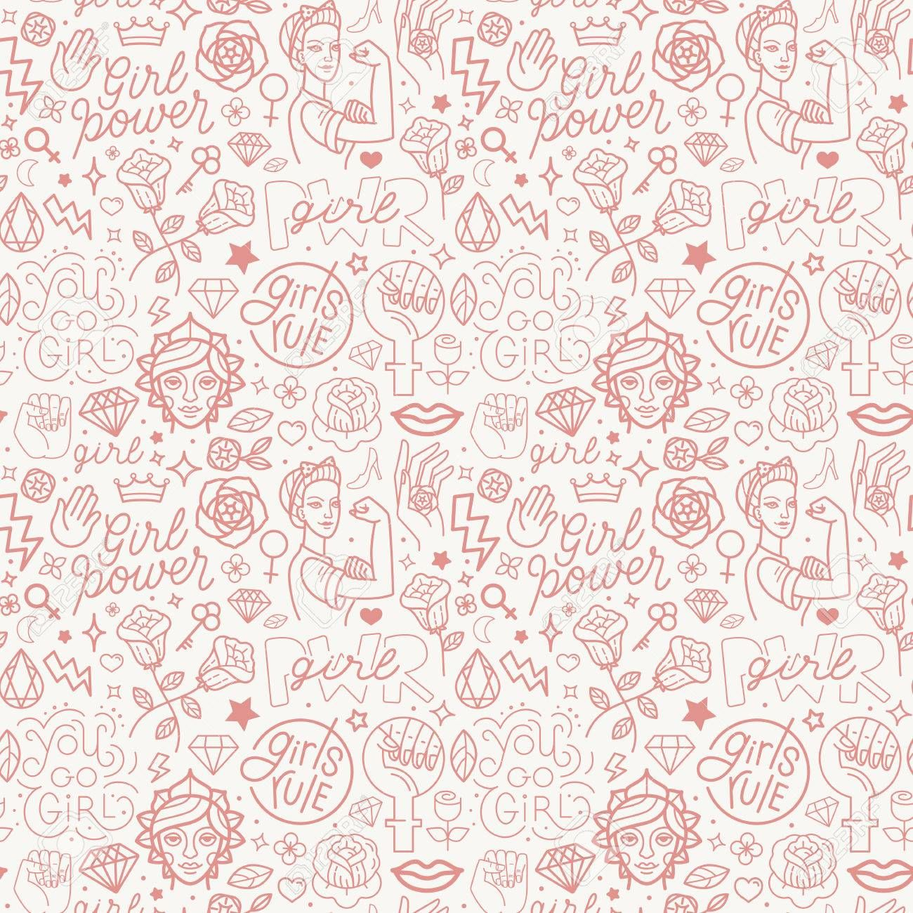 Vector seamless pattern with icon and hand-lettering phrases related to girl power and feminist movement - abstract background for prints, t-shirts, cards. , #spon, #lettering, #hand, #related, #phrases, #seamless