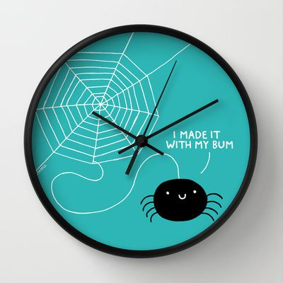 Spiders Have All The Fun Wall Clock By Gemma Correll Clock Wall Clock Fun