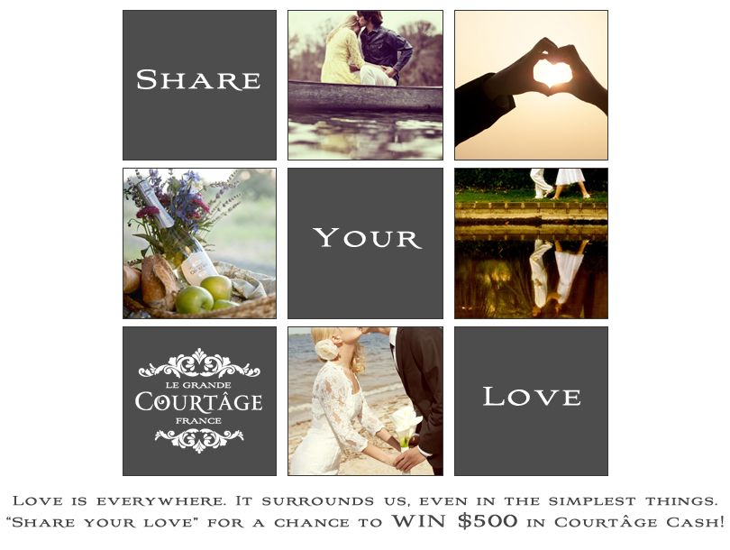 "❤ WIN $500 in Courtâge Cash ❤ Love is everywhere. It surrounds us even in the simple things, ""SHARE YOUR LOVE"" in a picture. Share with your friends (and lovers) & then the two of you can split the prize & celebrate with bubbly of course! ❤❤ CLICK LINK TO ENTER ❤❤  https://www.facebook.com/pages/Le-Grand-Court%C3%A2ge/201436589898558?sk=app_403359706360567"