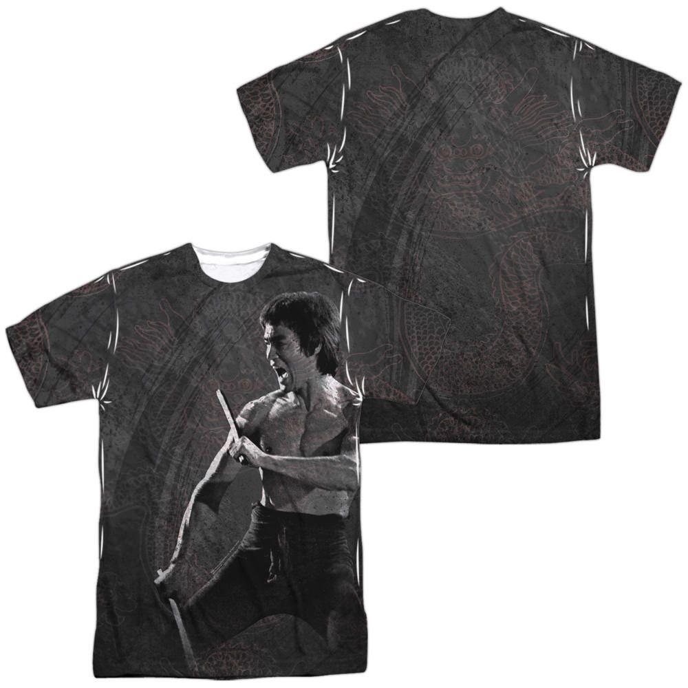 Bruce Lee Dragon Print White Poly T-Shirt (Front & Back Print)