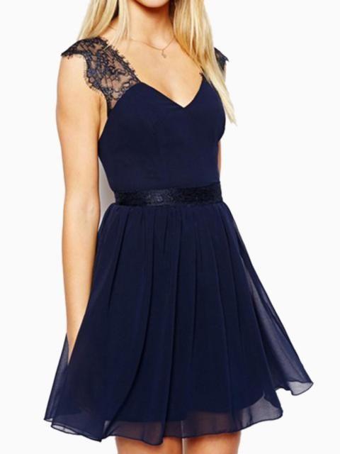 898d63e1b1 Navy Blue Backless Skater Dress with Lace Shoulder
