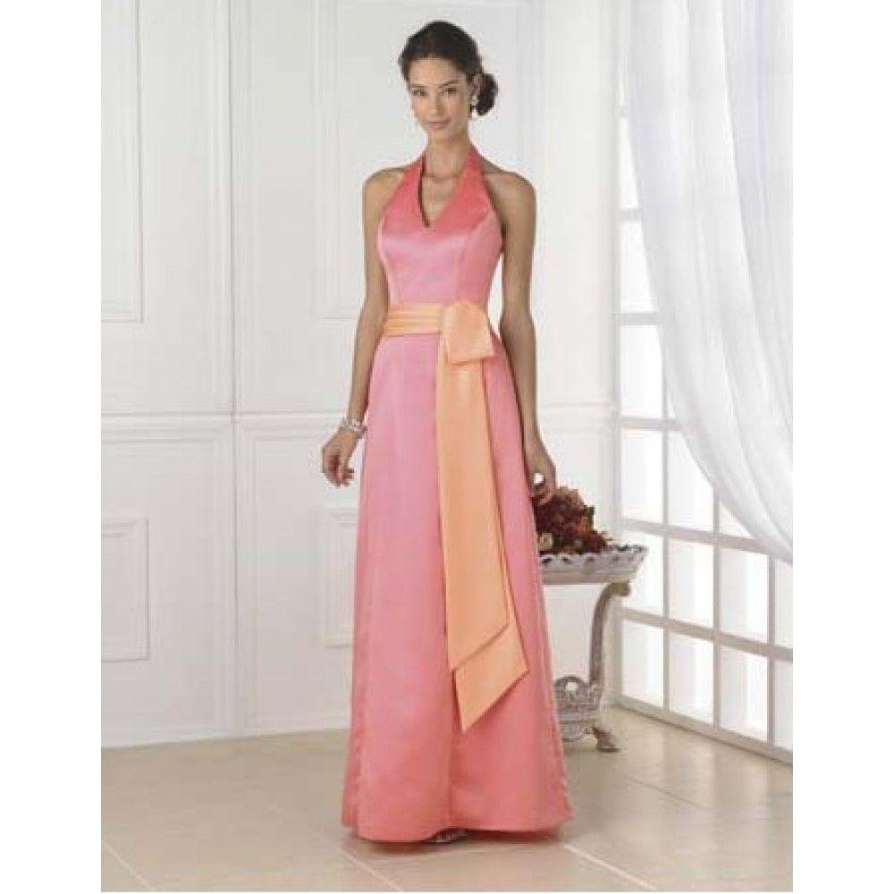 Line halter top ribbons satin long peach bridesmaid dress peach