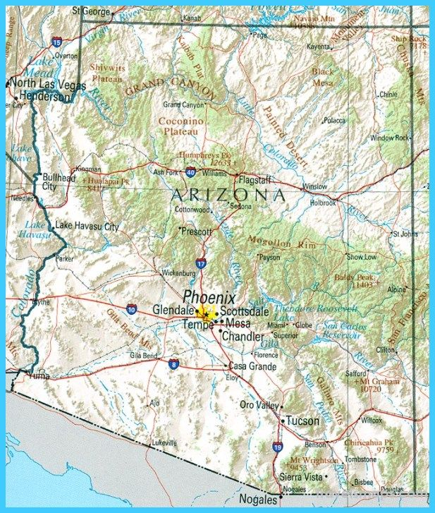 cool Map of Mesa Arizona | Travelsmaps | Lake havasu city az ...