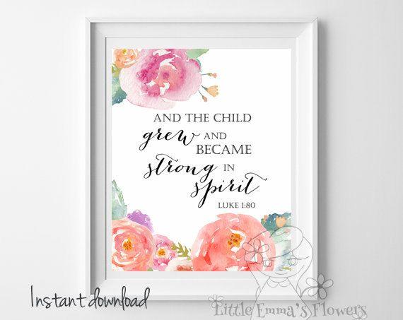 Luke 1 80 Nursery Bible Verse And The Child Grew Print Scripture