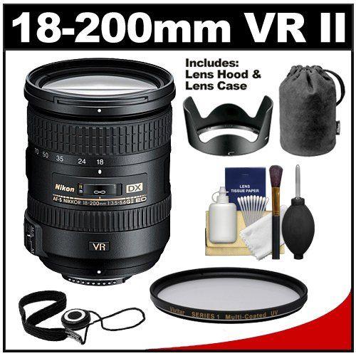 Nikon 18 200mm F 3 5 5 6g Vr Ii Dx Ed Af S Nikkor Zoom Lens With Hood Amp Pouch Case Filter Kit For D3200 D3300 D5200 Nikon Lenses Nikon Lens Nikon Dx