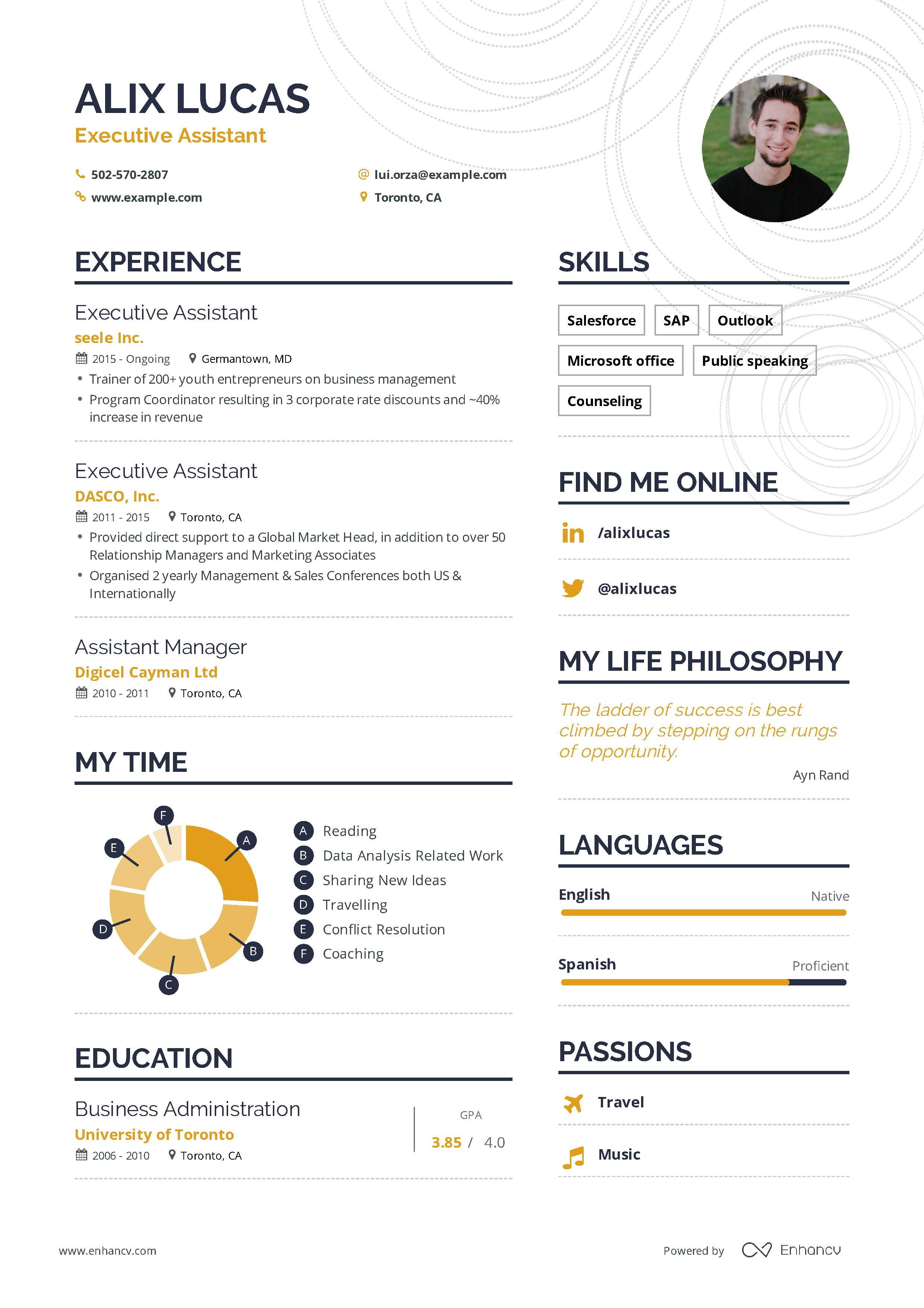 Executive assistant resume samples and writing guide for