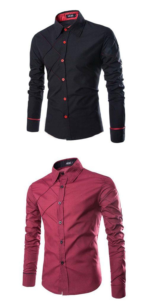571fd837a1c6e7 Men's Casual Pure Long Sleeve Regular Shirts Cheap Mens Shirts, Mens Shirts  Online, Casual