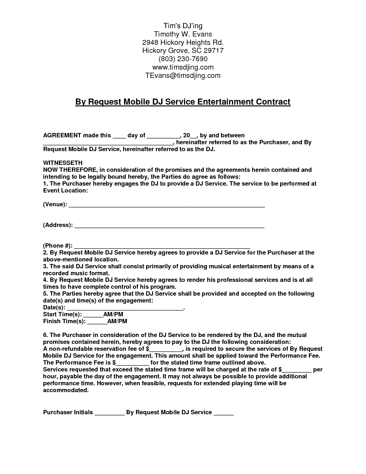 Mobile dj contract by request mobile dj service for Mobile dj contract template