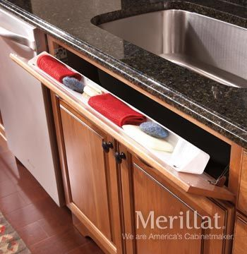 Base Tilt Out Sink Tray Classic Accessories Merillat Cabinetry A Tilt Out Tray Keeps Custom Kitchen Cabinets Custom Kitchens Kitchen Cabinet Accessories