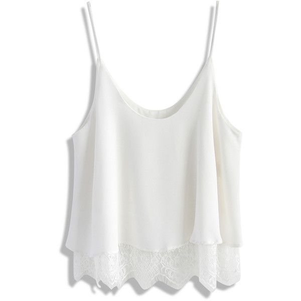 Chicwish Breezy Lace Trimmed Cami Top in White (295 SEK) ❤ liked on Polyvore featuring tops, shirts, white, white camisole, white singlet, cami tank, crop top and lace trim tank top