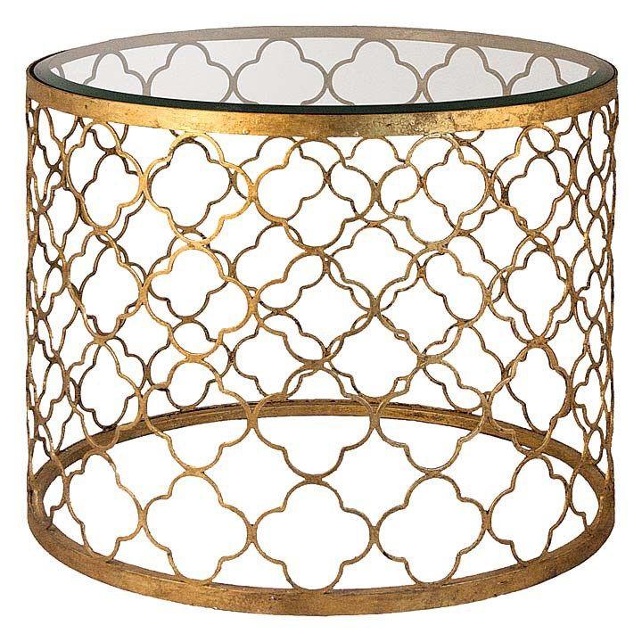 regina andrew gold leaf beveled glass top table @zinc_door #zincdoor #reginaandrew #sidetable #cocktailtable