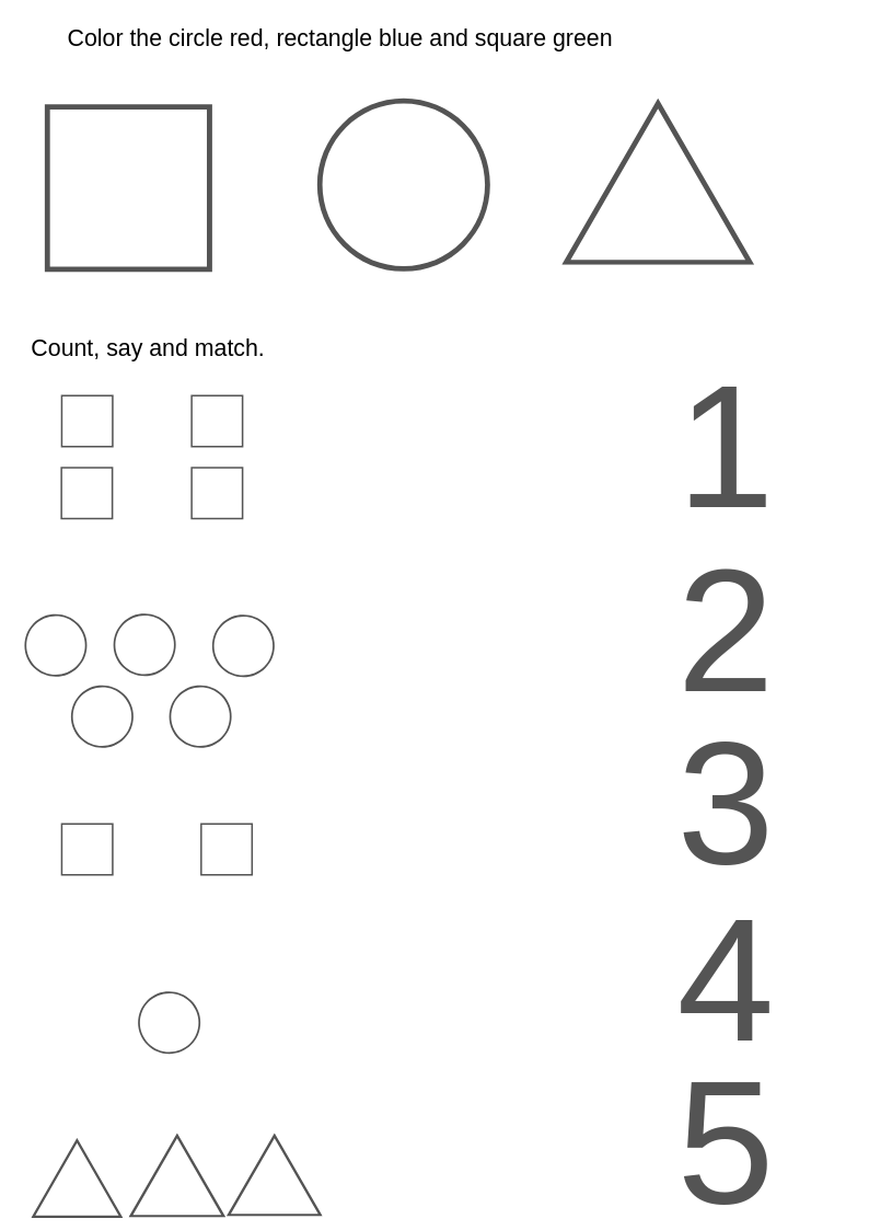 Shapes Coloring Counting And Matching Page Math Worksheet Shapes Math [ 1123 x 794 Pixel ]