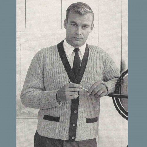 Mens Long Sleeve Sweater Vest Knitting PDF Pattern Vintage 60s 36 ...