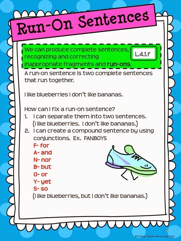 Writing Mini Lesson 4 Run On Sentences Rockin Resources Writing Mini Lessons Run On Sentences Teaching Writing Fixing run on sentences worksheets