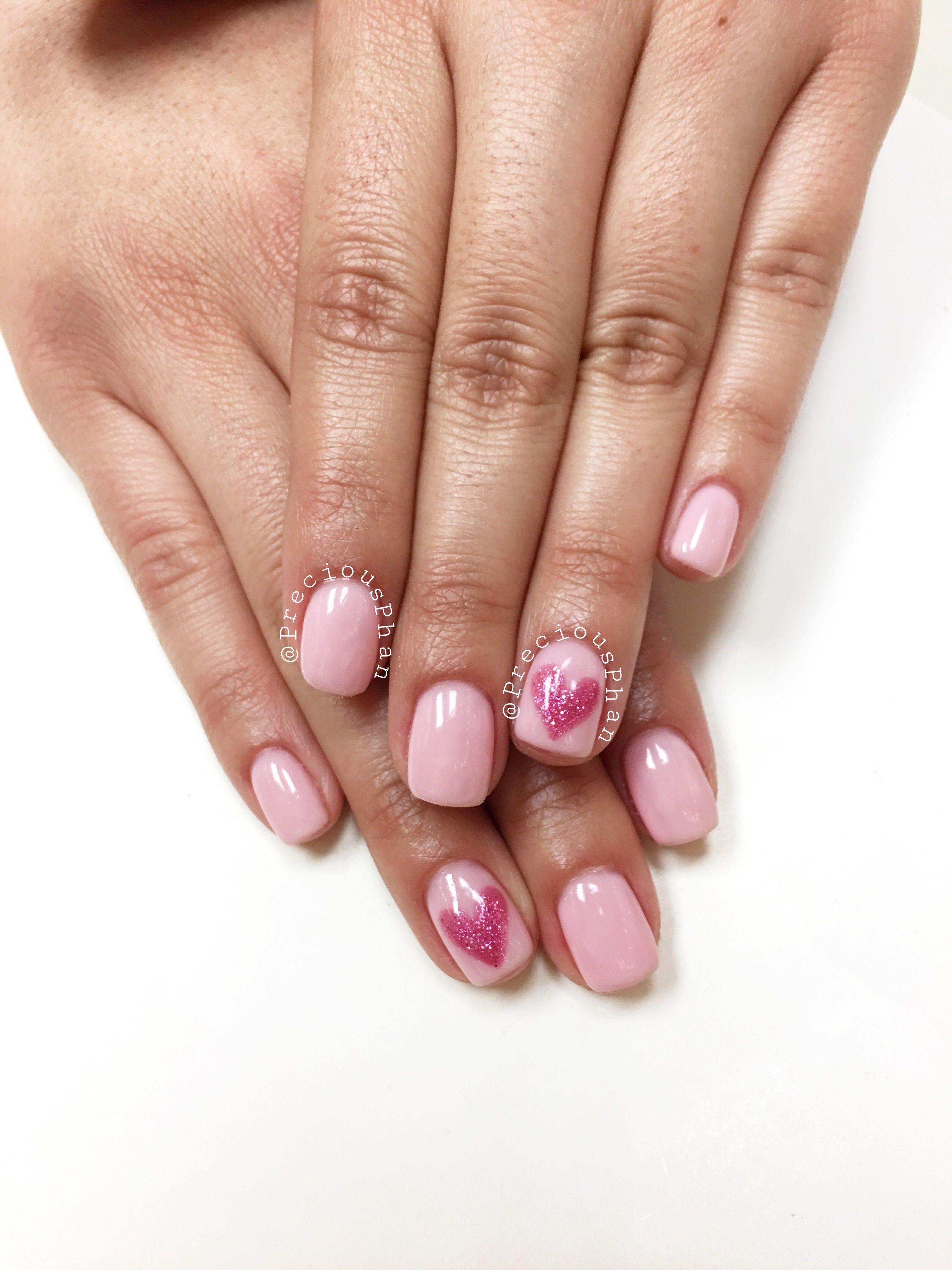 Valentine S Day Nails Baby Pink Nails Heart Glitter Nail Preciousphan Valentines Nails Dark Pink Nails Heart Nails