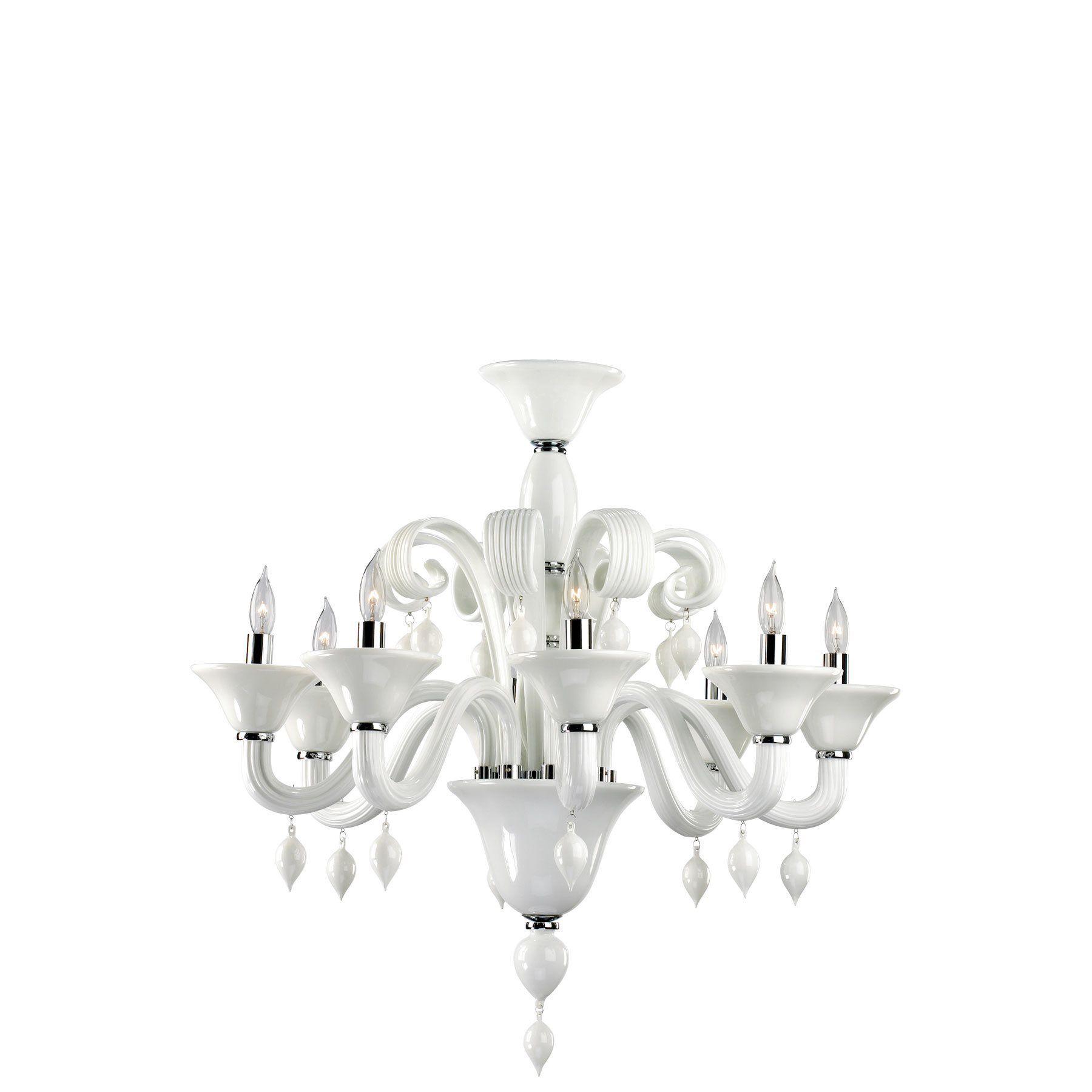 South Shore Decorating Cyan Design 6496 8 14 Treviso White Murano