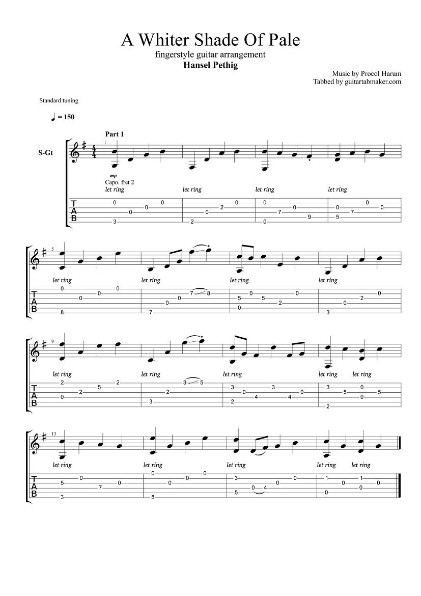 Procol Harum A Whiter Shade Of Pale Fingerstyle Guitar Tab Pdf