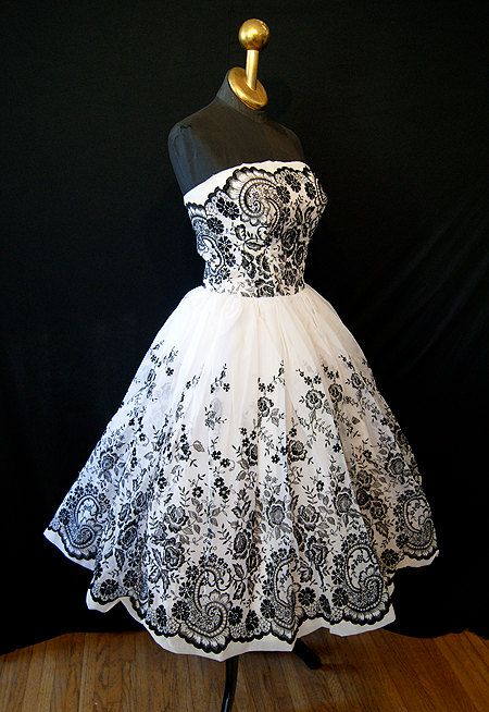vintage 50's embroidered black and white tea length wedding dress $398